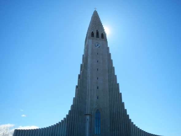 The front entrance of Hallgrimskirkja Church.