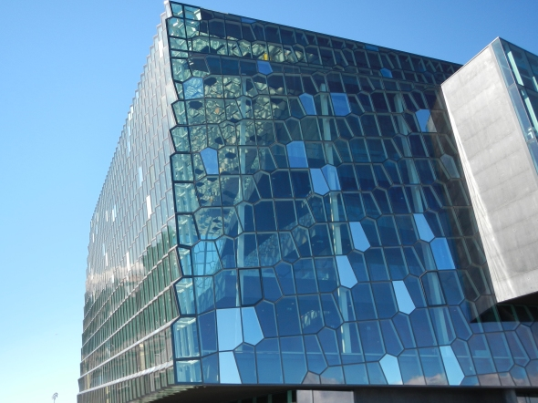 One of the outside views of the Harpa Concert Hall.  Note the colored window panels.