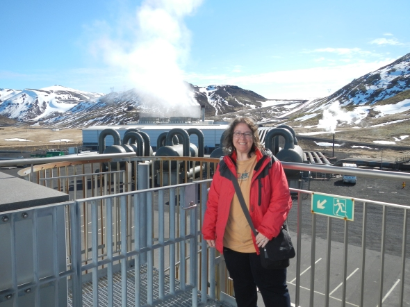 Here I am at the largest geothermal power station in Iceland and the second largest in the world.  The Hellisheiði Geothermal Plant is situation at Hengill, an active volcanic ridge in southwest Iceland.