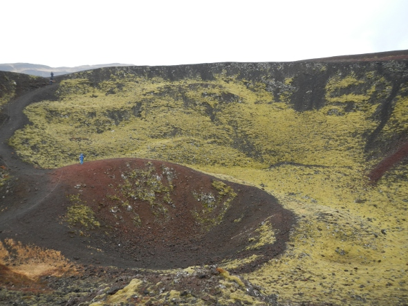 A view inside the crater of the cinder cone.  Unfortunately, I could not fit the entire rim in the picture (I had to watch my step - there wasn't far for me to step back!).  Look at the ring inside the crater for a human for scale.
