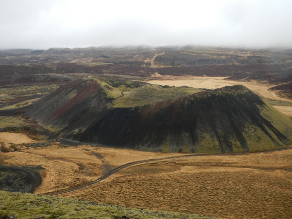 You don't have to look far to find a cinder cone on the Icelandic landscape.