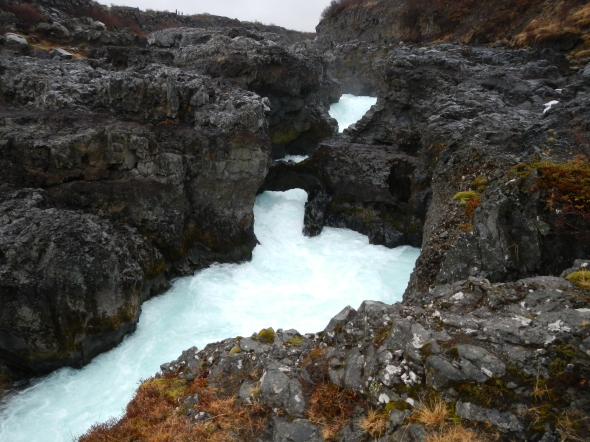 Barnafoss waterfall.