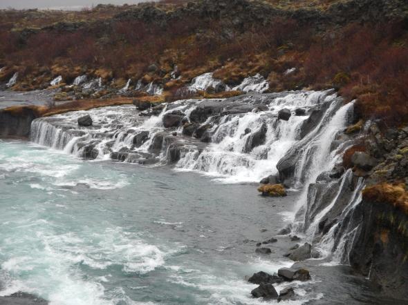 Hraunfossar waterfall.