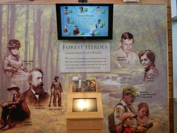 """This was a great display to see in their visitor center - recognition to those that have made public lands in Pennsylvania possible. Students from my Earth Science """"Fire"""" seminar will recognize some of these names!"""