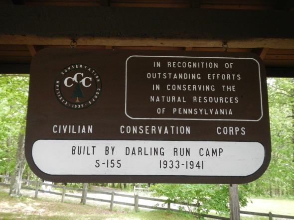 A sign at one of the many structures at Leonard Harrison State Park constructed by the CCC.