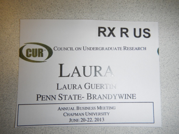 A typical name badge for a GeoCUR Councilor - note how we identify each other as geologists!