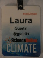 "Name badge - with Twitter handle but no institution or affiliation listed to ""level the field"" between all attendees."