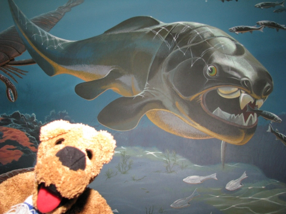 The Nittany Lion hanging out with what is believed to be the scariest predator in our oceans of all time, the Dunkleosteus!