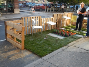 Parklet designed by Jacobs/Wyper Architects, on the 200 block South 13th Street, complete with a plant & pumpkin checkerboard.