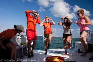 Our field leaders doing the good luck shark dance to bring the sharks to our lines.  At this part, they are doing the bull shark move.