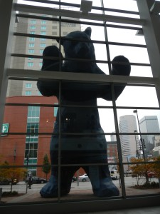 Big Blue Bear, peering in to the GSA conference!