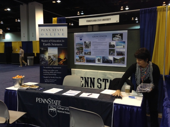 The Penn State table, where students can learn about opportunities in the Department of Geosciences