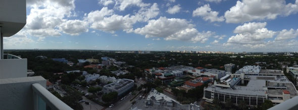 Looking out at and across the CocoWalk complex in Coconut Grove.