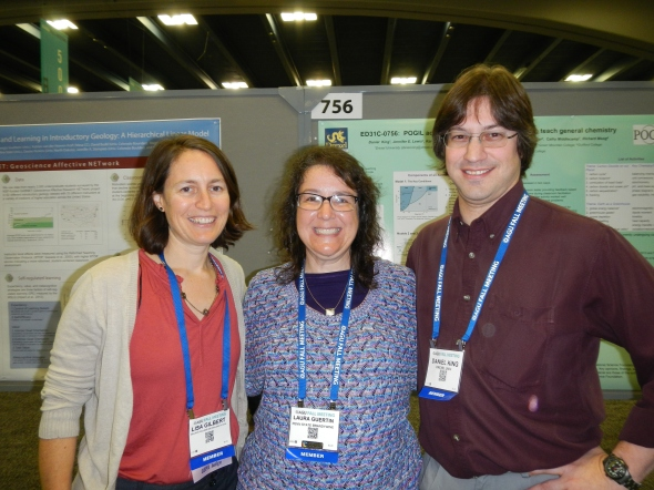 Wednesday morning in the AGU Poster Hall (from left to right) Lisa Gilbert, Laura Guertin, Daniel King