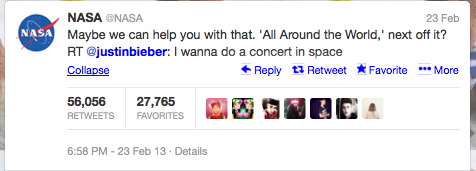 The Justin Bieber/NASA tweet with over 50,000 retweets
