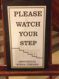 This sign had the actual measurements of how much each step has shifted!