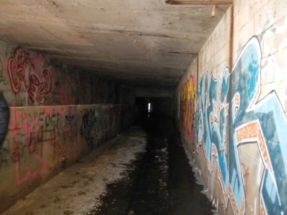In some places, the graffiti was quite colorful - and the water, quite deep!