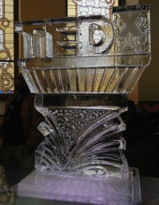 Ice sculpture in the lobby of the Arts Center