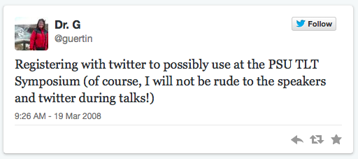 I recently saw an article on CNN.com that discussed how Twitter lets you quickly go in and see your very first tweet.  My first tweet happened to be about the TLT Symposium (back in 2008!).