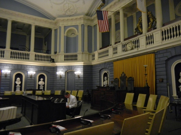 The State Senate Chambers (not in session on this day).