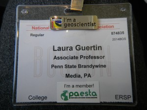 My name badge for the conference (I added the I'm a geoscientist pin and PAESTA sticker).