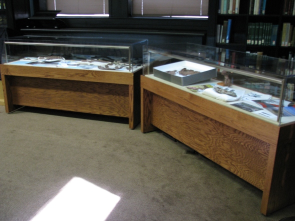 Two display cases in the Library display real pieces of the fossil.