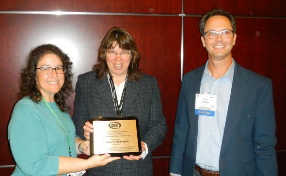 From left to right - myself, Dr. Mary MacLaughlin of Montana Tech (GeoCUR Undergraduate Research Mentor Award recipient), Dr. Lee Phillips, UNC and GeoCUR Chair