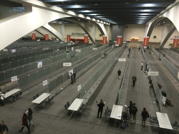 Here's an image of just a small portion of the poster hall, early in the morning when presenters are setting up their posters (which must be in place no later than 8AM).