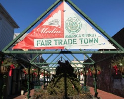 Fair Trade Town sign in Media, Pennsylvania