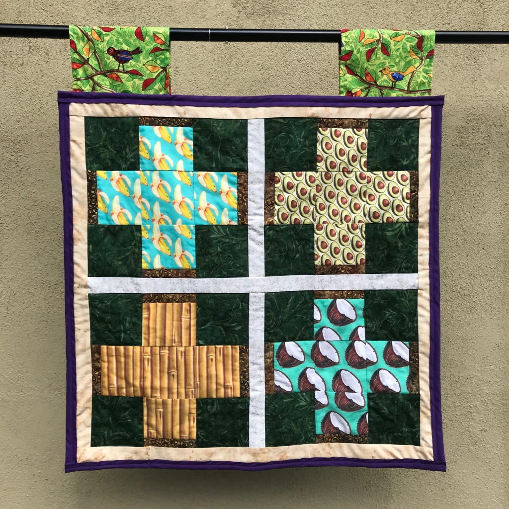 Sink - Land Sink Sector. Completed June 6, 2021, measures 30 inches by 30 inches. Based on Four Square from Missouri Star Quilt Company.