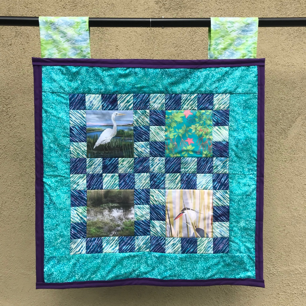 Sink - Coastal and Ocean Sink Sector. Completed June 1, 2021, measures 25 inches by 25 inches. Based on Tile Style from Missouri Star Quilt Company.